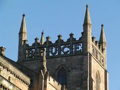 King Robert the Bruce's name around the four sides of the tower of Dunfermline Abbey Church