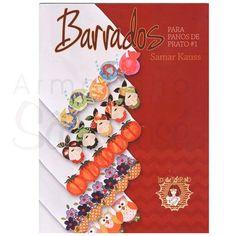 Livro Barrados para Pano de Prato por Samar Kauss - 40 novos motivos para barrados com riscos e sugestão de cores. - Explicação passo a passo e dicas