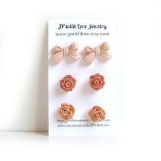 Flower Stud earrings, peach Stud earrings, dusty pink, cinnamon,. $18.00, via Etsy.