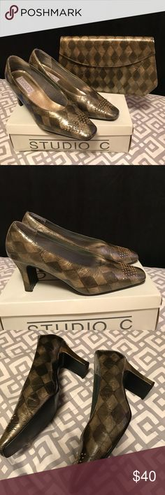 "Olive Studio 3"" Pumps & Matching Handbag • Patent leather elegant pump with gold studs on front & back . You can dress them up with any outfit. They are in excellent condition • Handbag Interior & Exterior is in excellent  condition. I missed place the shoulder strap hopefully I can find it. If not it can be carried as a Clutch • All man made materials made in China • Europe 40 & USA 10 M Studio Shoes Heels"