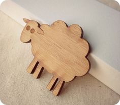 Baa baa wooden sheep have you any wool? Sheep brooch - lasercut wooden jewellery by One Happy Leaf