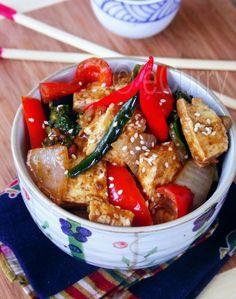 Braised Tofu in Spicy Sesame, Peanut Sauce - Vegan