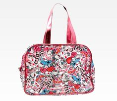 Hello Kitty Vinyl Boston Bag: Cherry Hearts
