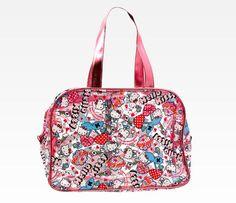 Hello Kitty Vinyl Boston Bag: Cherry Hearts