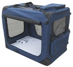 "EliteField Navy Blue 30"" 3-Door Soft Dog Crate, 30"" Long x 21"" Wide x 24"" High"