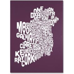 Trademark Art 'mulberry-Ireland Text Map' Canvas Art by Michael Tompsett, Size: 24 x 32, Red