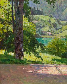 Carl Moll (Austrian, 1861-1945), View from Villa Billroth, Wolfgangsee, 1901. Oil on wood, 26 × 21 cm.