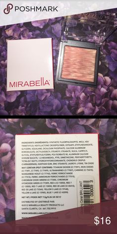 Mirabella Brilliant Mineral Highlighter in Coral Brand new in box.     Mineral-based highlighter with prismatech shimmer. Brand new illuminator revitalizes skin with subtle sheen. Beautifully blended color combinations provide a soft, incredibly flattering glow. Prismatech is a color and texture revolution and combines all the best features of baked, fluid and cream products. Creates the truest color imaginable with a highly polished finish. Makeup Luminizer