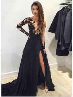 Sexy split prom dresses,black lace prom dress #simibridal
