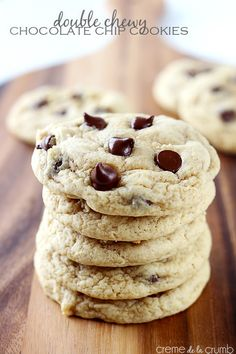 Rich chocolate chip cookies with a crisp outer edge and a double-chewy center!