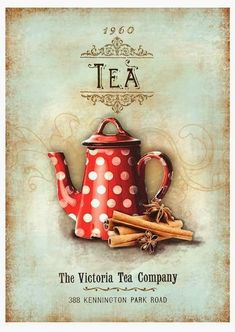 Lovely vintage wall hanging for a tea room. Vintage Tea, Vintage Labels, Vintage Cards, Vintage Paper, Printable Vintage, Vintage Coffee, Decoupage Vintage, Images Vintage, Vintage Pictures