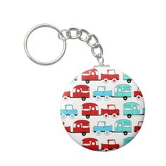 Retro Camping Trailer Turquoise Red Vintage Cars Key Chains SOLD on Zazzle