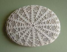 Crocheted Lace Stone, Crazy Large, Smooth, Flat, Handmade. $80.00, via Etsy.