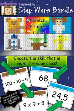 Star Wars inspired Watch, Think, Color games!  Each game comes in number sense, expanded notation, rounding, and multiplication practice. Each game keeps kids focused for 15-20 minutes.  $10