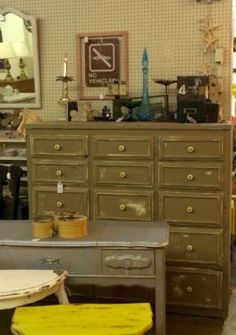 "Distressed Fifteen Drawer Storage Cabinet   52"" Wide x 22"" Deep x 50"" High   $365  Dallas Vintage Market Booth #300   Lula B's 1010 N. Riverfront Blvd. Dallas, TX 75207   Like us on Faceb"