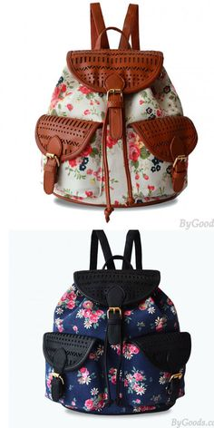 A cute Fresh Floral Printed With Leather Hollow Out Backpack! I like brown . #backpack #floral #hollow #bag #fresh #flower