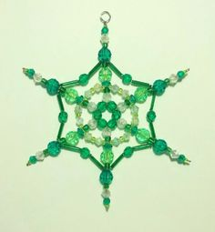 Snowflake Ornament - Suncatcher - Decoration - Emerald Green and Lime. via Etsy.