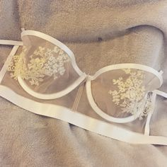 Sneak peek - sheer bra, white detailing and lace appliqué.