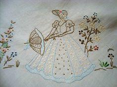 Vintage White Cotton Madeira Hand Embroidered Crinoline Ladies Tablecloth