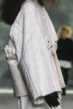 Using large weaving and stitching techniques I could sew the garments together in an experimental way // Rick Owens aw 2013