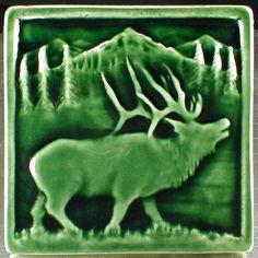 Elk tile, Animal art, decorative tile, ceramic sculpture, art tile, accent tile, wall tile by CampbellTileworks on Etsy