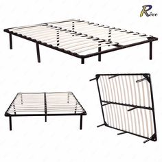 """Wood slats metal bed frame. Material: Wood slats & metal frame. Elegant, stylish design in your bedroom. Full & Queen size available for your selection. Product Size: Queen 80""""L 61""""W 14""""H. Stable & sturdy construction. 