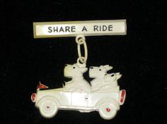 Scottie dogs in car vintage celluloid pin brooch 1940s share a ride