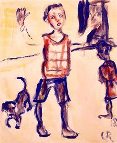 Christian Rohlfs (German, 1849–1938). Playing Children and Dachshund, 1918.