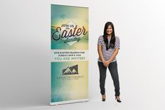 Easter Sunday Banner – A modern roll up banner design that can be used to invite your congregation to an easter sunday service.