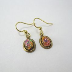 Harlequin Fire Opal surgical steel earrings, vintage glass, petite oval earrings, nickel free earrings, small drop earrings, short dangle by AndesBeads on Etsy