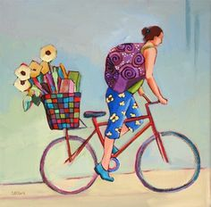 Daily Painting, In a Hurry, contemporary figure painting with bicycle, painting by artist Carolee Clark