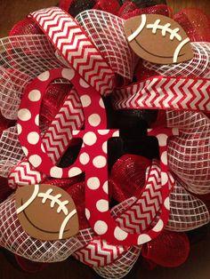 Large OU (University of Oklahoma) Football Chevron Wreath
