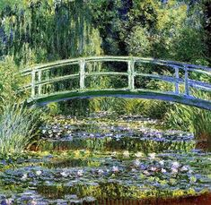 Monet: Japanese foot bridge over the water lily pond in his garden of Giverny.