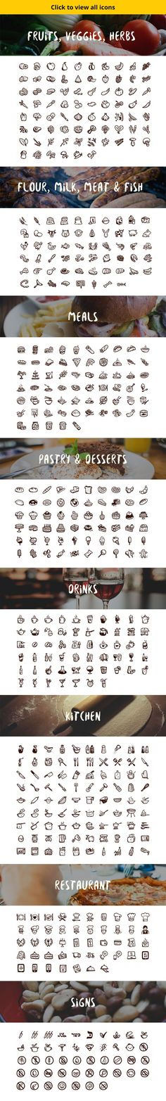 foods icon 500 hand-drawn food icons by Hand-drawn Goods on Creative Market Doodle Drawings, Doodle Art, Journal Inspiration, Web Design, Doodle Icon, Food Icons, Sketch Notes, Food Drawing, Planner
