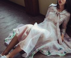 L'amant Collection pink sheer bird spring by PurpleFishBowl