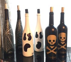 - This set of 3 hand painted wine bottles are completely one of a kind. A…
