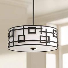 "Neo Geometric Black 20 1/4"" Wide Drum Pendant Light - #9H474 | Lamps Plus"