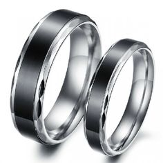 Black Titanium Steels(Price For A Pair) - USD $49.95 : EverMarker.com Not a fan of the marks on the side but i like the black in the center of a simple ring.
