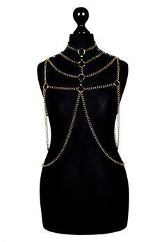 Gold Metal Body Chain Harness #VII di cvdbodychains su DaWanda.com