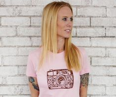 Ladies 35mm Camera Tshirt Pink and Brown Cotton by CausticThreads, $20.00