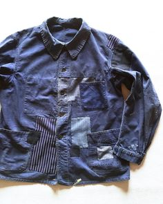 """""""""""SASAKI-JIRUSHI"""" French vintage patched work jacket From:France,1950's Material:Cotton Patched:Vintage cotton Color:Faded navy Size:M-L  #Frenchwork…"""""""