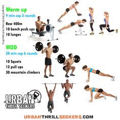 row 400m, 10 bench push ups, 10 lunges, 10 Squats, 12pull ups, 30 mountain climbers