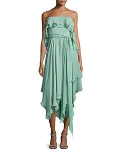 T8R86 Halston Heritage Ruffle-Trim Strapless Dress, Celadon