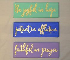 Romans 12:12 hand painted canvas set