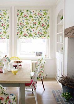 White kitchen/dining + pretty fabric - Petitevanou