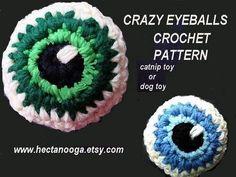 CRAZY EYEBALL, crochet pattern, how to diy, catnip toy, dog toy, juggling balls, funny crochet