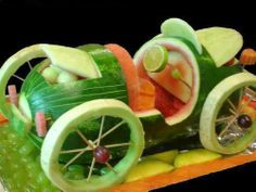Food Art http://myhoneysplace.com/food-art-pictures/ This is just a photo but fun idea. I would use dye free food coloring.