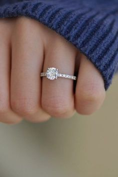 engagement ring inspiration simple ring pave band round cut diamond