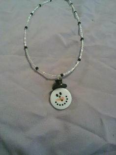 Snowman button necklace by CRAZYBUTTONDESIGNS13 on Etsy, $6.00
