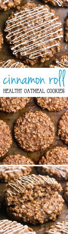 Clean-Eating Cinnamon Roll Cookies -- just 97 calories, but these skinny cookies don't taste healthy at all! You'll never need another oatmeal cookie recipe again!